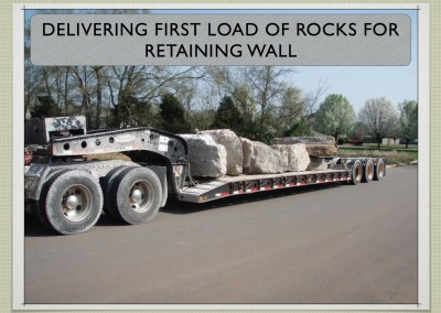 Delivering first load of rocks for retaining wall - Two Story ICF Home - The Hybrid Group Inc. - Murfreesboro Tennessee